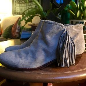 Sam Edelman Grey Suede Tassel Booties Short Heel!